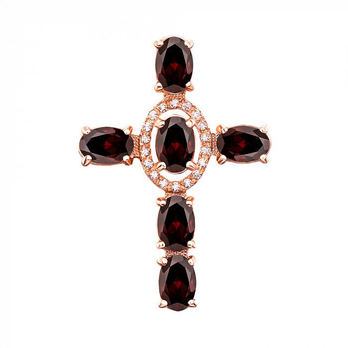 Декоративный крестик из красного золота с грнатом и фианитами 000131529 000131529