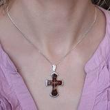Крестик серебряный с янтарем и фианитами Радушие