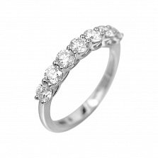 Золотое кольцо Присцилла в белом цвете с дорожкой бриллиантов
