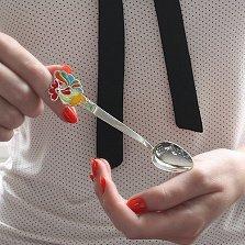 Серебряная чайная ложка Петушок с разноцветной эмалью