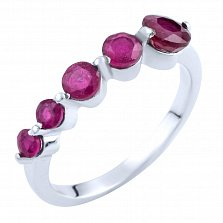 Серебряное кольцо Чандана с рубинами