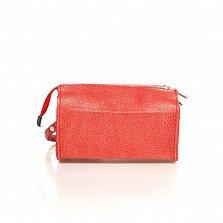 Кожаный клатч-саквояжик Genuine Leather 8057 кораллового цвета с короткой ручкой на запятье