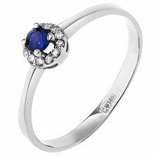 Золотое кольцо Небесный ореол в белом цвете с сапфиром и бриллиантами