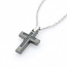 Колье Zancan Уверенность с подвеской-крестом и черной шпинелью
