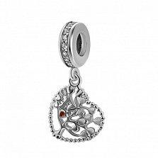 Серебряный шарм-подвеска Дерево влюбленных с сердечками, красной эмалью и фианитами
