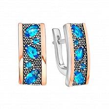 Серебряные серьги Иветта с голубыми топазами и позолотой