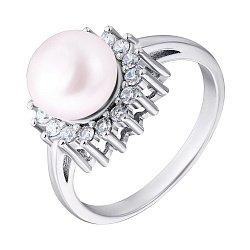 Серебряное кольцо с жемчугом и фианитами 000132558