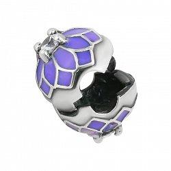 Серебряный шарм Георгин с цирконием и фиолетовой эмалью