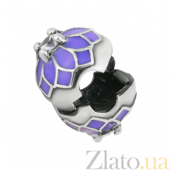 Серебряный шарм Георгин с цирконием и фиолетовой эмалью 000081732