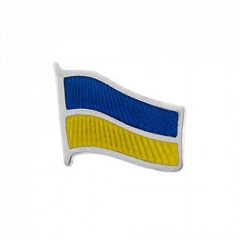 Срібний значок з емаллю Прапор України 000033343