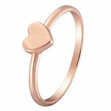 Кольцо Сердечко в красном золоте