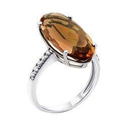 Серебряное кольцо с дымчатым кварцем и фианитами 000134813