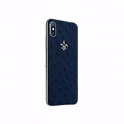 Apple IPhone X Noblesse OSTRICH EXOTIC EDITION в синей коже страуса, белом золоте и бриллиантами