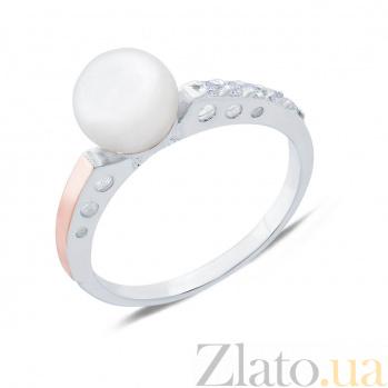 Серебряное кольцо Инесса с жемчугом, фианитами и золотой накладкой AQA--193Кж