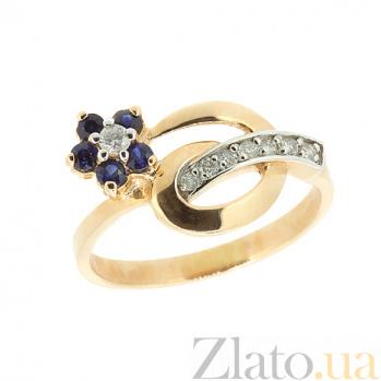 Золотое кольцо с сапфиром и бриллиантами Сильва ZMX--RS-6488_K