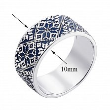 Серебряное кольцо Вышиваночка с орнаментом и темно-синей эмалью