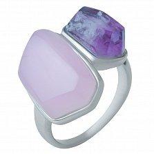 Серебряное кольцо Кристэлл с розовым кварцем и аметистом