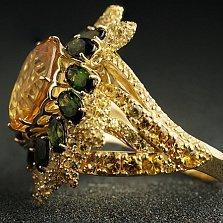 Золотое кольцо с цитрином, турмалином и сапфирами Мэйбл