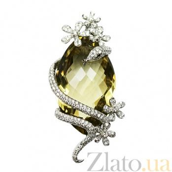 Золотой подвес с кварцем и бриллиантами Мудрость 000026776