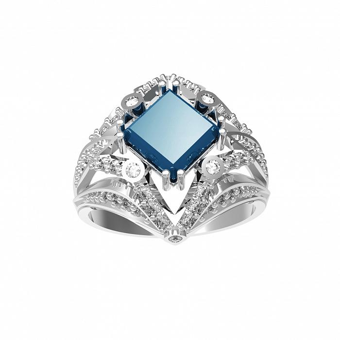 Серебряное кольцо Азиза с лондон топазом и фианитами 000079771