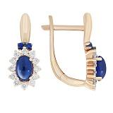 Золотые серьги Баронесса с сапфирами и бриллиантами