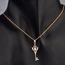 Золотой кулон Магический ключ с фианитами