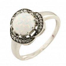 Серебряное кольцо Фиалка с белым опалом и фианитами