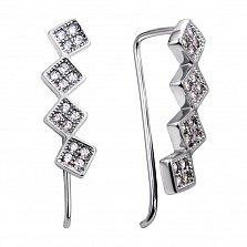Серебряные серьги-каффы Геометрическая череда с ромбиками и белыми фианитами