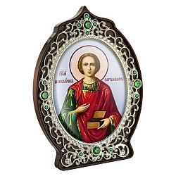 Икона Святой Пантелеймон с латунью, зелеными фианитами и цветной эмалью 000004199