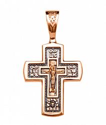 Православный крестик в комбинированном цвете золота с чернением 000130865