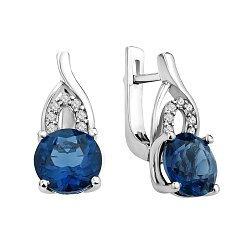 Серебряные серьги Мамбо с кварцем London blue и фианитами