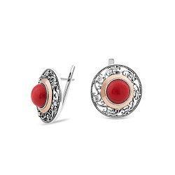 Серебряные серьги с золотыми накладками, красной яшмой, фианитами и чернением 000072626