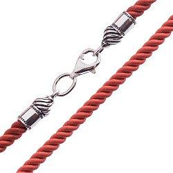 Шелковый шнурок Анна с серебряной застежкой