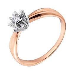 Золотое кольцо Ажурная снежинка с бриллиантами в родированном касте