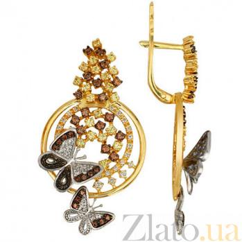 Золотые серьги Аурелия с цирконием VLT--TТ2263