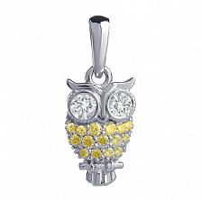 Золотой кулон с белыми и жёлтыми бриллиантами Сова