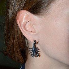 Серебряные серьги с черной шпинелью Скорпионы