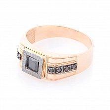 Перстень-печатка Александр в красном золоте с черными фианитами и чернением