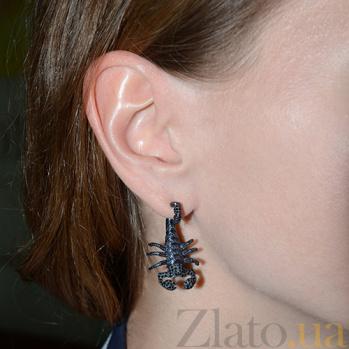 Серебряные серьги с черной шпинелью Скорпионы Скорпионы