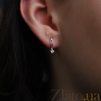Золотые серьги с бриллиантами Марианна E 0696/бел