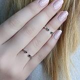 Серебряное кольцо на фалангу с чёрными цирконами Глазки