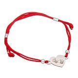 Шёлковый браслет Сердце ладошки с серебряной вставкой