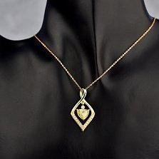 Кулон из желтого золота с шампаньевым и белыми бриллиантами 000114281
