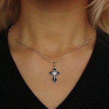 Серебряный декоративный крестик Кармен с эмалью и фианитами