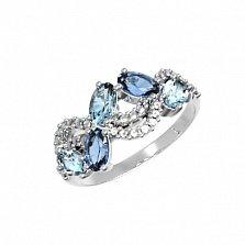 Серебряное кольцо Арина с кварцем под лондон топаз, голубым кварцем и фианитами