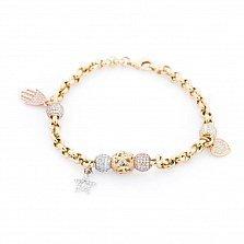 Золотой браслет Джовита с кристаллами циркония