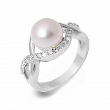 Кольцо серебряное с белым жемчугом Белла