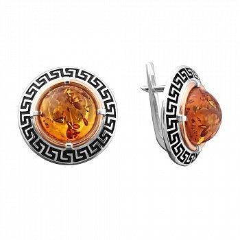 Серебряные серьги с золотой накладкой, янтарем, черной эмалью и чернением  000099051