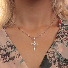 Серебряный крестик Вера на прямоугольной основе с синей эмалью и золотой накладкой