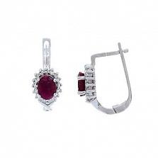 Серебряные серьги с рубином Розитта